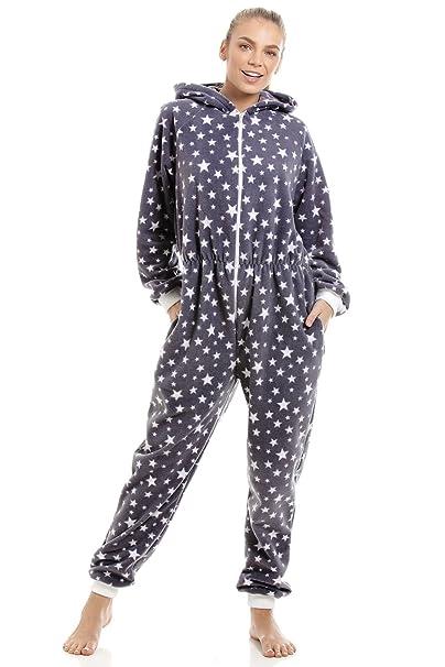 Camille Pijama de una Pieza para Mujer Estampado de Estrellas Blancas Forro Polar - Gris: Amazon.es: Ropa y accesorios