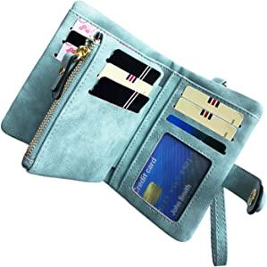 Women's Small Bifold Leather wallet Rfid blocking Ladies Wristlet with Card holder id window Coin Purse (Green)