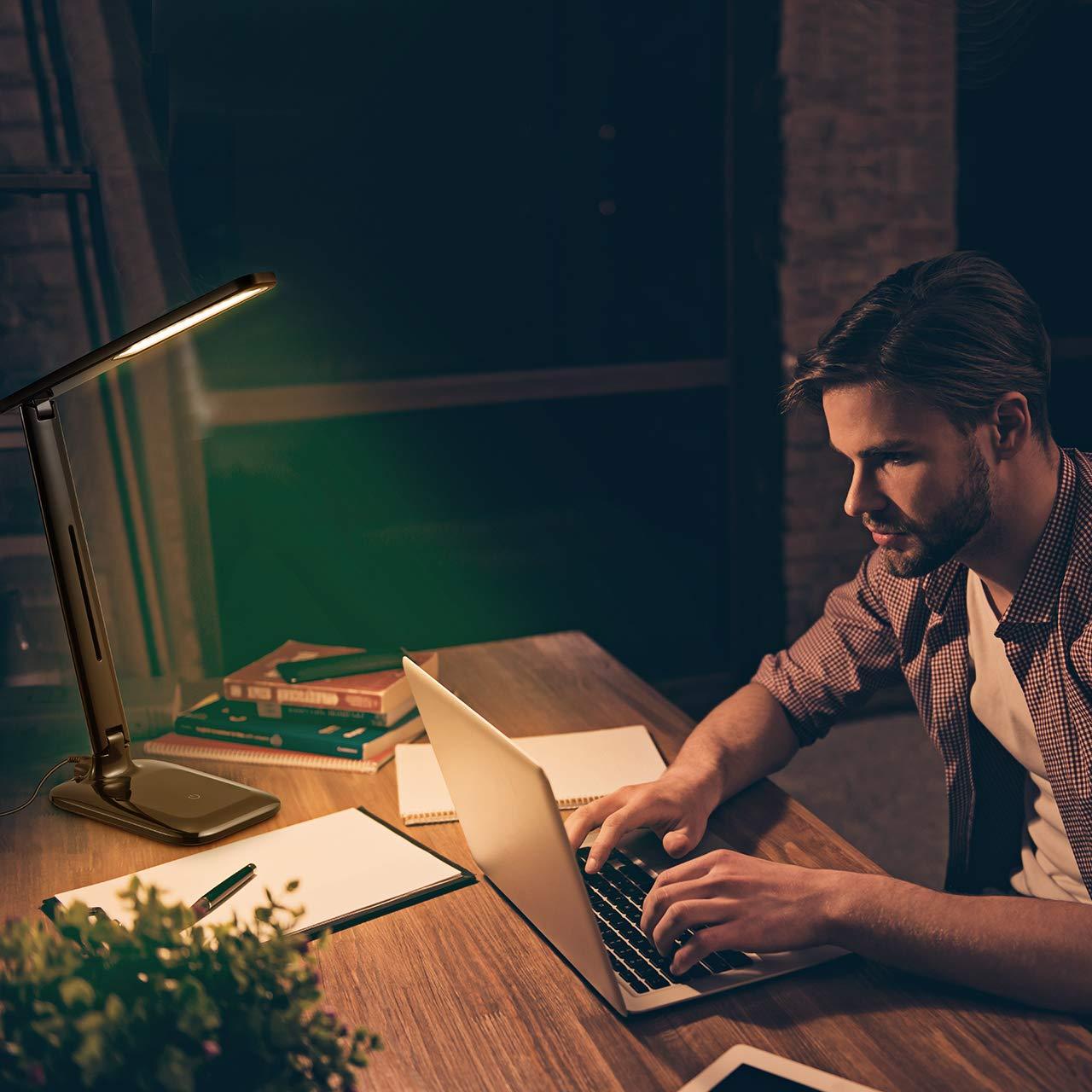 Kinder VICTSING LED Schreibtischlampe Schwarz LED Dimmbare Tischleuchte 3 Farb und 3 Helligkeitsstufen Augenfreundliche Nachttischlampe,Leselicht ideal f/ür Leser B/üro