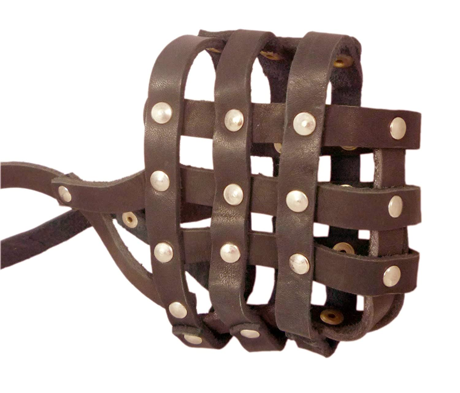 Real Leather Dog Basket Muzzle  107 Brown Pit Bull Amstaff (Circumference 12 Snout Length 3.5)