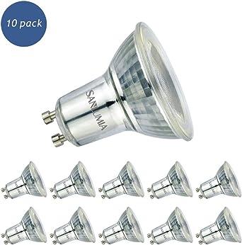 Sanlumia Bombillas LED GU10, 6W=75W Halógena, 500Lm, Blanco Neutro (4000K), Ultra Brillante, Iluminación de Techo para Cocina, Oficina, o Baño, 38° ángulo de haz,Paquete de 10: Amazon.es: Iluminación