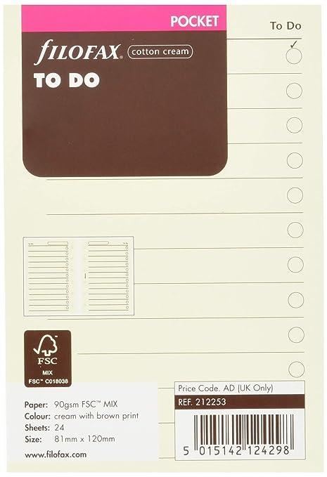 Filofax Personal - Recambio para agenda de anillas, hoja de tareas, color crema (en inglés)