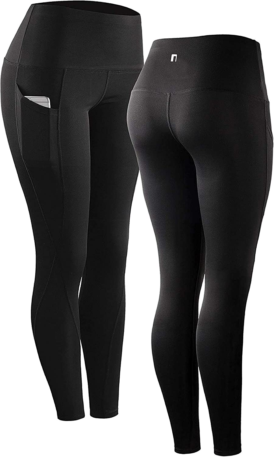 Black Womens High Waisted Leggings Stretchy Gym Workout Running Thick Yoga Pants