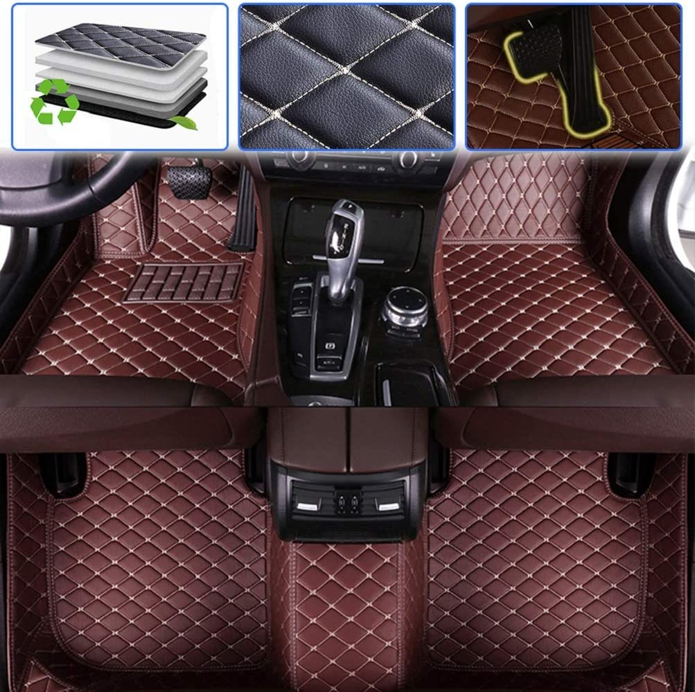 Custom Car Floor Mats for KIA Sportage 2012-2017 2018-2020 Luxury Leather Waterproof Anti-Skid Full Coverage Liner Front & Rear Mat//Set Black red