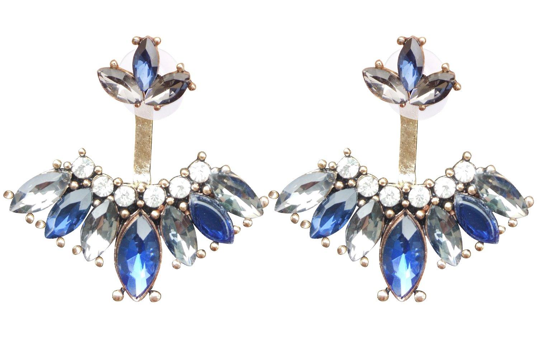 Mina Jeweled Marquis Blooming Cluster Pear Teardrop CZ Ear Jacket Regal Blue Earring