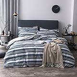 Merryfeel Seersucker Duvet Cover Set,100% Cotton Yarn Dyed Seersucker Woven Stripe Bedding Set,3 Pieces (1 Duvet Cover with 2