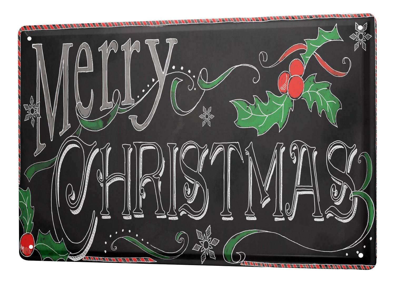 LEotiE SINCE 2004 Tin Sign Metal Plate Decorative Sign Home Decor Plaques 30 x 40 cm Christmas Merry Christmas