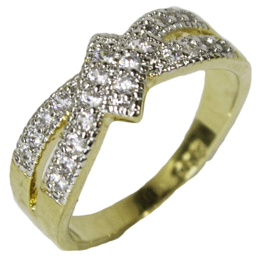Women's 18 Kt Gold Plated Dress Ring Bypass Band with CZ 047 (7)