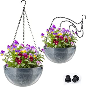 Hanging Planter Basket for Outdoor Indoor Plants,10 Inch Round Hanging Flower Pots with Chain Porch and Drainage Plugs for Home Balcony Garden Decor (2 Pack, Marble Blue)