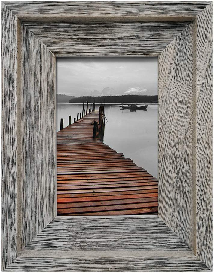 EosGlac 4x6 Rustic Picture Frame, Farmhouse Photo Frame for Wall and Tabletop Display, Weathered Gray