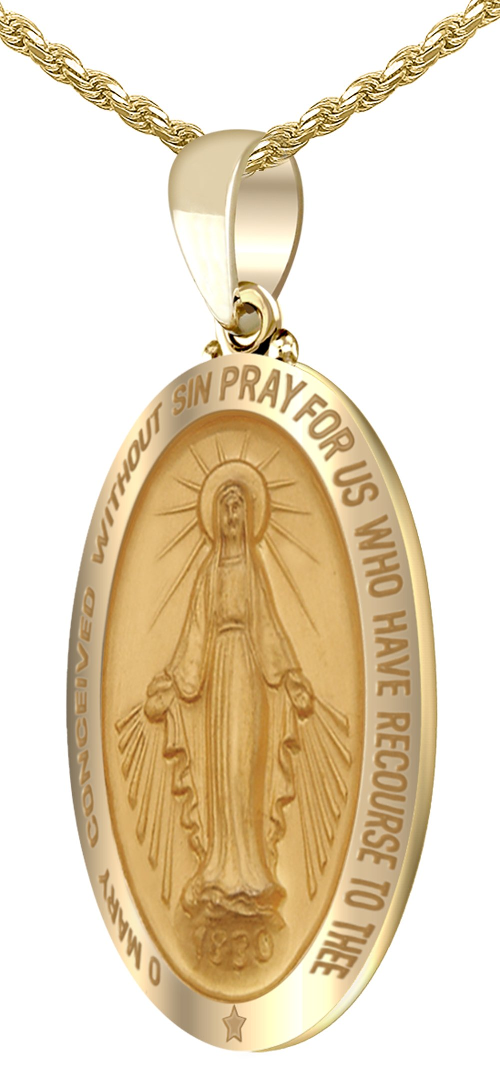 US Jewels And Gems New 14k Yellow Gold 1.25'' Hollow Oval Miraculous Virgin Mary Polished Finish Pendant 1.5mm Box Necklace, 24'' by US Jewels And Gems