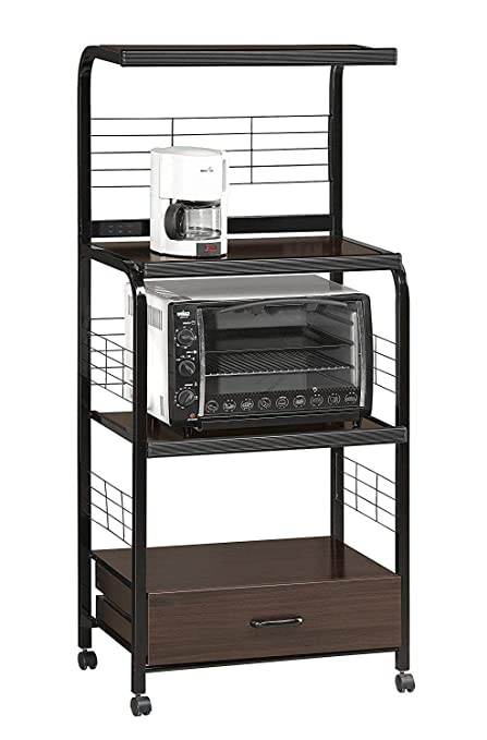 Moveable Kitchen Island Cart on Wheels Sideboard Buffet Black Metal Rolling  Portable Open Storage Organizer Microwave Cart & e-Book by jn.widetrade.