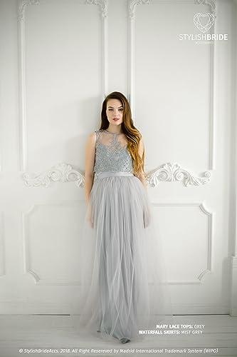 Amazon.com: Mary Grey Lace Dress, Long Must Grey Waterfall ...