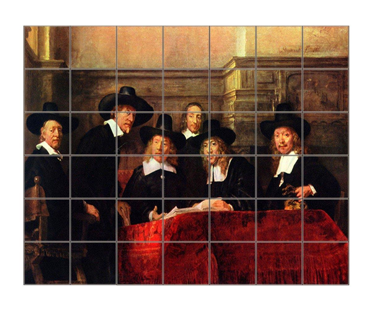 Chairman Cloth Makers Guild (Rembrandt) Horizontal Tile Mural Satin Finish 36''Hx42''W 6 Inch Tile