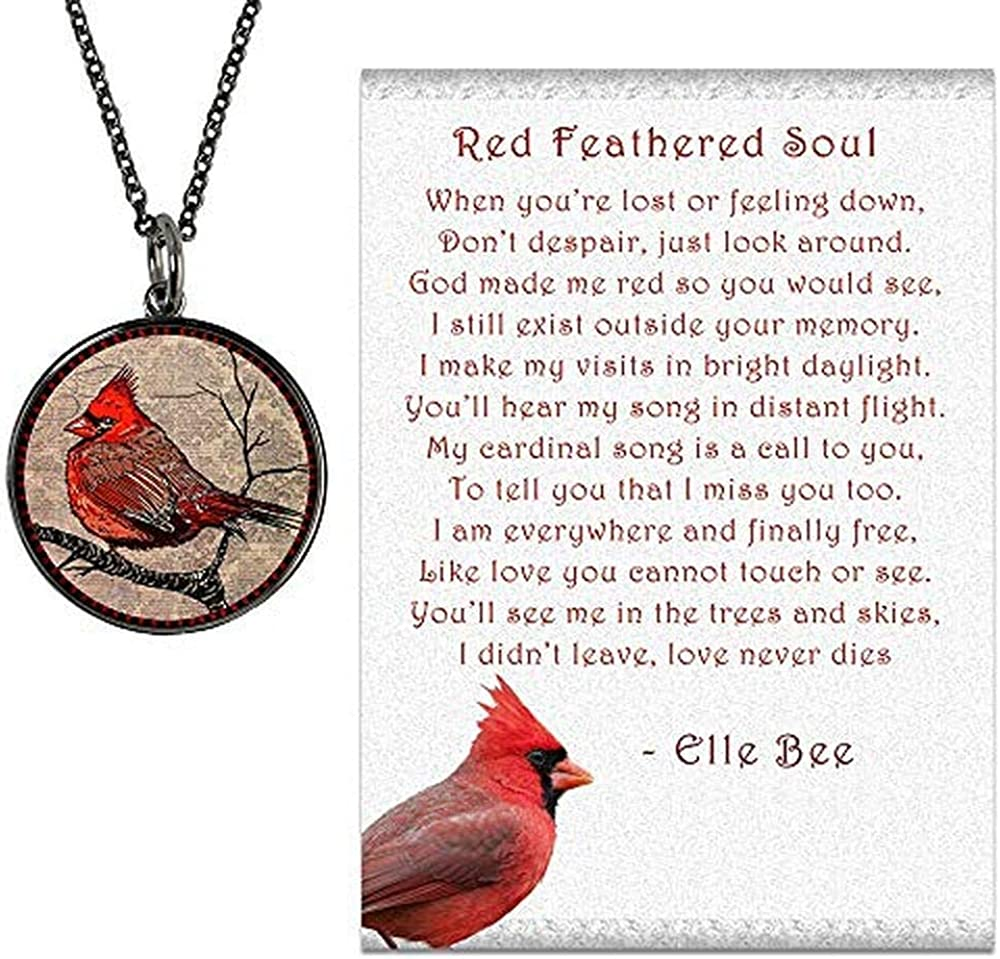 """Lola Bella Gifts and Spirit Lala Cardinal Necklace with Backside """" Our Love Never Dies"""" and Red Feathered Soul Poem Card, Gift Box Grief Sympathy"""