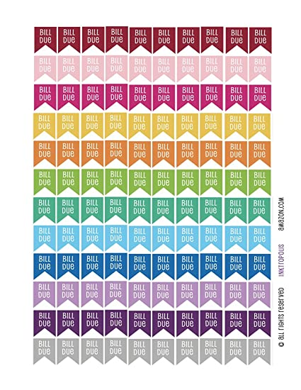 Monthly Planner Stickers bill due Flag Stickers Planner Labels Compatible  with Erin Condren Vertical Life Planner