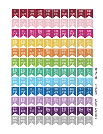 Amazon Com Monthly Planner Stickers Bill Due Flag Stickers Planner