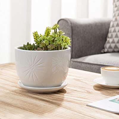 MyGift 7 Inch Sunburst Design Round Ceramic Flower Pot with Attached Saucer, White: Garden & Outdoor