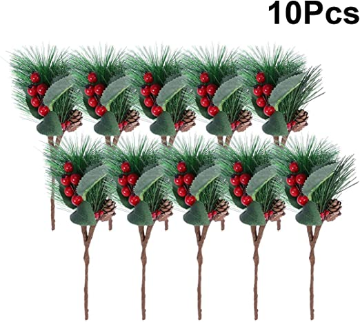 10 pcs Artificial Pine Picks Small Pine Picks Artificial Red Berry Pinecone Branches for Christmas Flower Arrangements Wreaths and Holiday Decorations