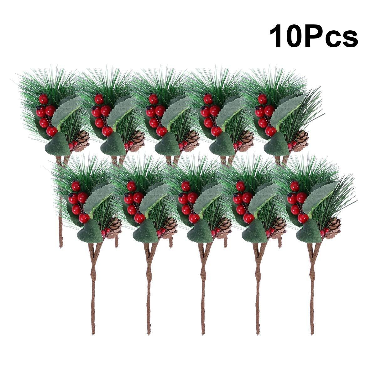 10 Ramas de Pino de Tallos de Bayas Ramas Artificiales de /Árbol de Pino con 6 Adornos de Copo de Nieve Decoraci/ón de Palillos de Bayas de Navidad Rama Artesanal de Conos de Pino Artificial