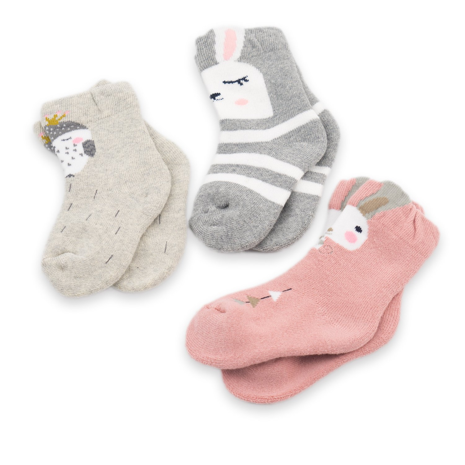 CoCoCute Baby Socks - 3 Pairs Thick Winter Toddler Socks Infant Kid Cotton Crew Socks