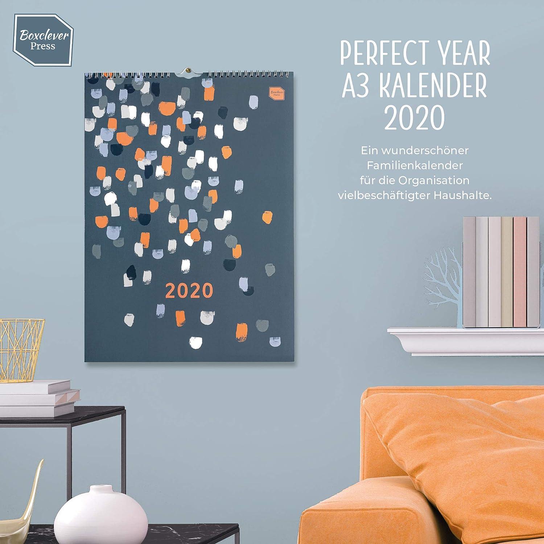 Ampio spazio per ogni giorno e per le note Planner 2020 da muro da Gen a Dic 2020 Calendario 2020 da muro Boxclever Press Perfect Year A3 con etichette Con tasca e adesivi promemoria. In tedesco