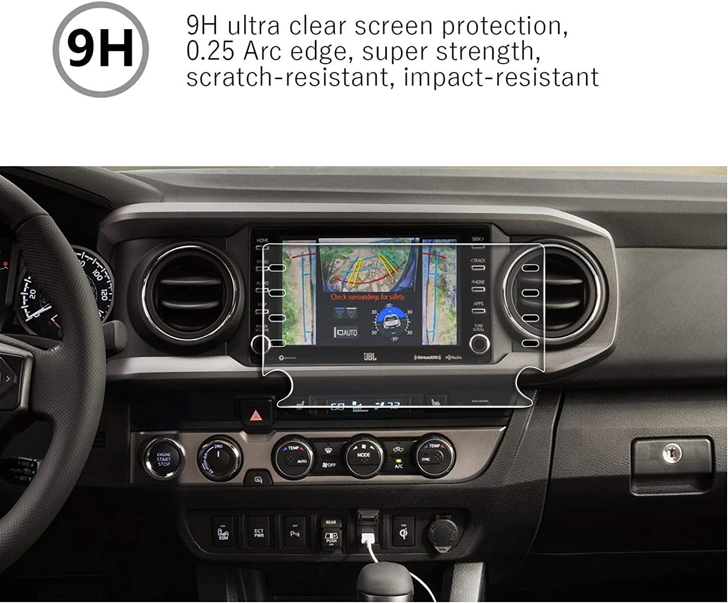MBSIX Tempered Glass Screen Protector Compatiple with 2020 Tacoma 8 Inch Touch Screen,HD Clear,Scratch-Resistant,Anti Glare,Protecting Toyota 8 Inch Screen