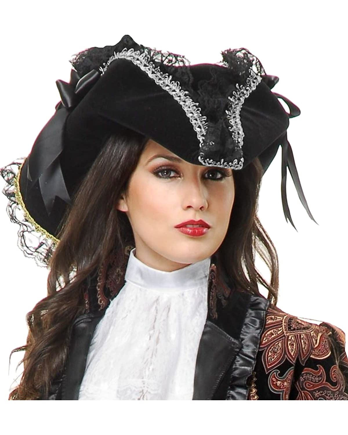 Deluxe Black Velvet and Lace Silver Trim Lady Pirate Hat with Black Ribbons d8285820508