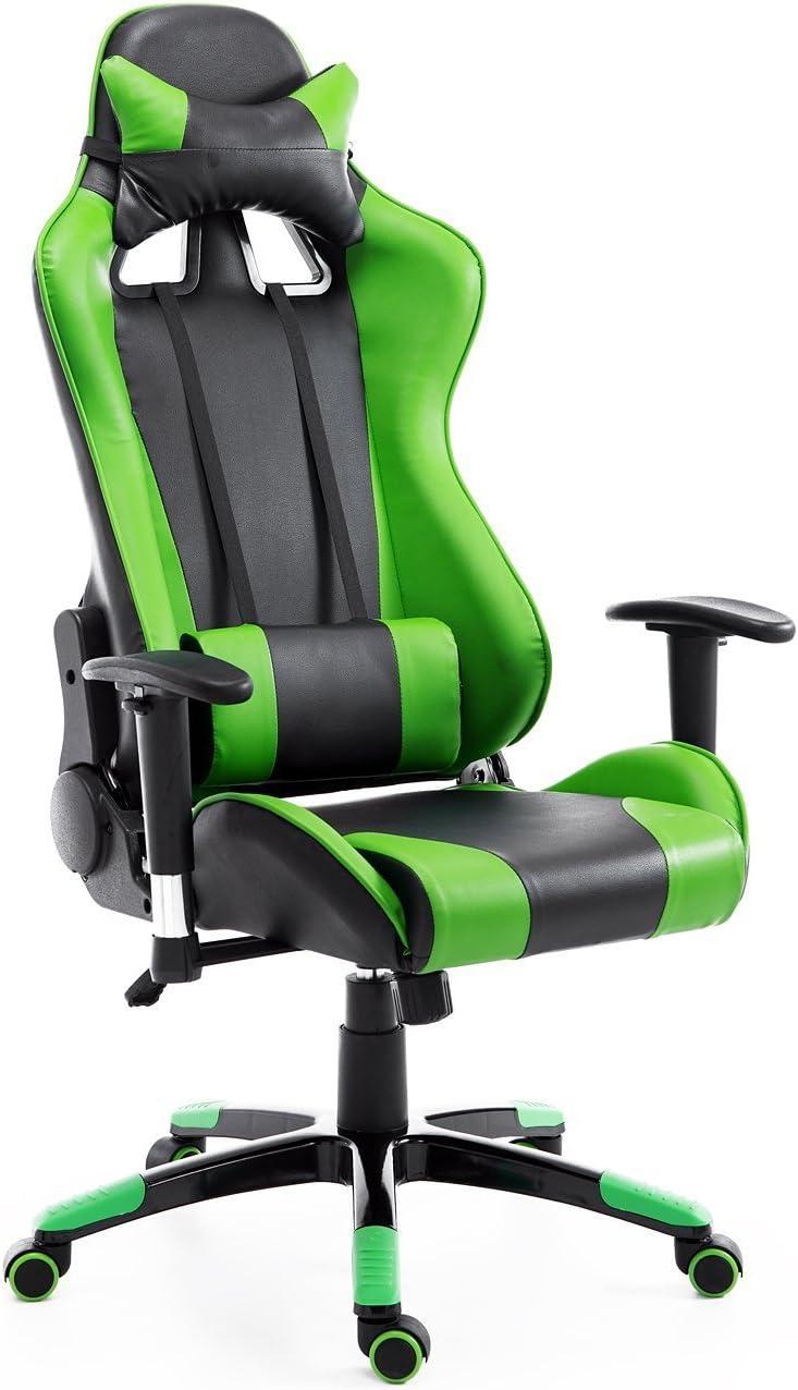 Silla de Oficina Juvenil Silla para Juegos de PC Ergonómica Reclinable con Respaldo Alto Acolchada Cuero PU (Verde)