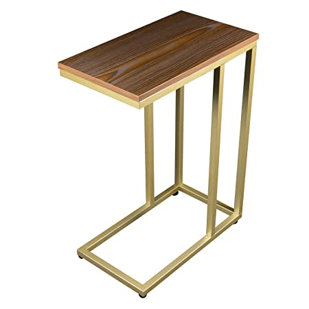 The Stephanie C Table End Table Laptop Stand, Oak Wood Finish Top Champagne Gold Base with Adjustable Glides