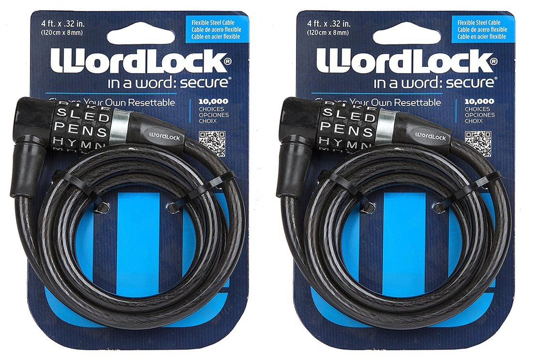 World and Main-Exclusives Wordlock CL-409-BL 4-Letter Combination Bike Lock Cable, 5-Feet 2pack (Black)