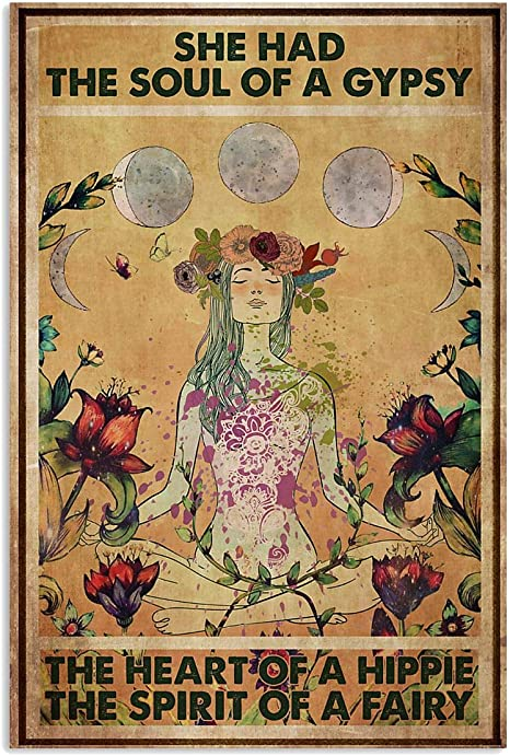 the heart of a hippie fairy printed posterart design The soul of a gypsy