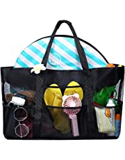 Dreamsoule Large Capacity Mesh Beach Tote Bag,Portable Swimsuit Toy Organizer Storage Handbag,Folding Soft Shopping Shoulder Bag with 8 Pockets,Fit for Market,Grocery,Picnic&Beach