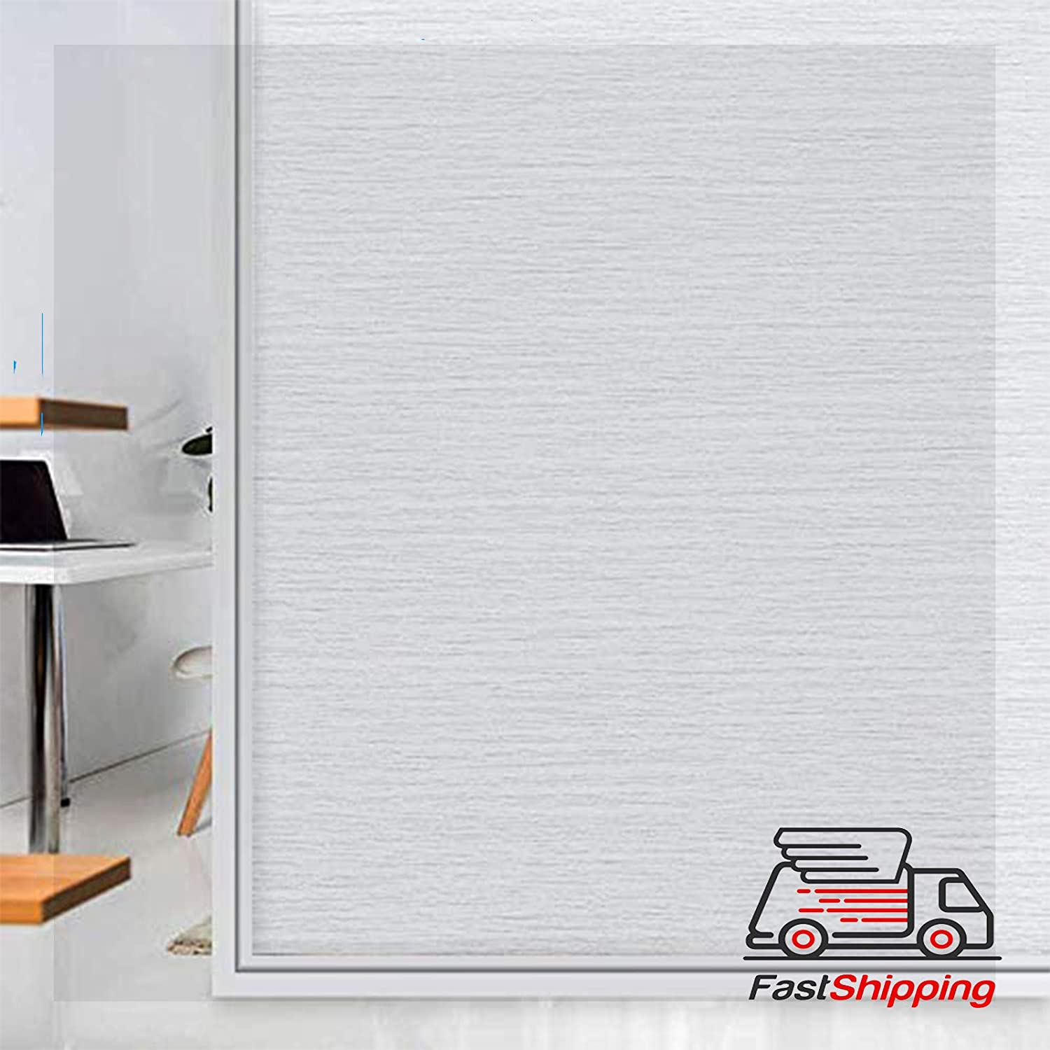 Privacy Window Films-Static Cling Window Privacy Film Tinting Translucent,Window Treatment Opaque Glass Covering Non Adhesive Reusable Door Stickers No Residue,Heat Control 35.4 inch x 157 inch