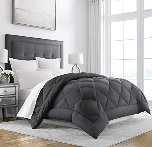 Sleep Restoration King Size Comforter for Bed - Down Alternative, Heavy, All-Season Luxury, Allergy Friendly - Hotel Bedding, Oversized Reversible Comforters, Grey/Black