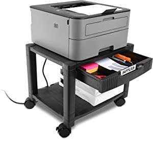 Circuit City PS2TD 2 Shelf Wheeled Rolling Printer Cart Machine Stand with Built-in Storage and Cable Management - Holds Up to 75 Pounds (Black)