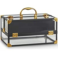 Beautify Vanity Make Up Beauty Storage Large Case Lockable Acrylic with Black and Gold Frame