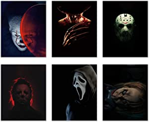Horror Movie Villain Prints - Set of 6 (8 inches x 10 inches) Pictures - Pennywise Jason Voorhees Michael Myers Freddy Krueger Ghostface Chucky