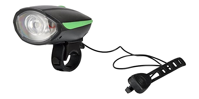 DarkHorse Bicycle CE Standard 3 Mode Front Light 250 Lumens  amp; Loud Horn, Runs with AAA Batteries, Green Lights   Reflectors