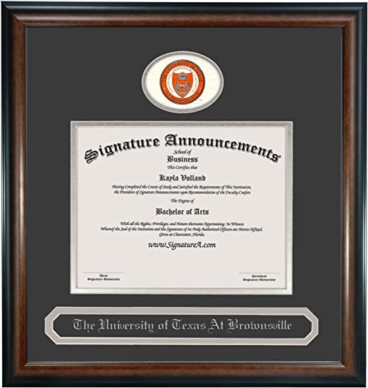 Sculpted Foil Seal /& Name Graduation Diploma Frame 20 x 20 Matte Mahogany Signature Announcements University Brownsville-and-Texas-Southmost-College Undergraduate