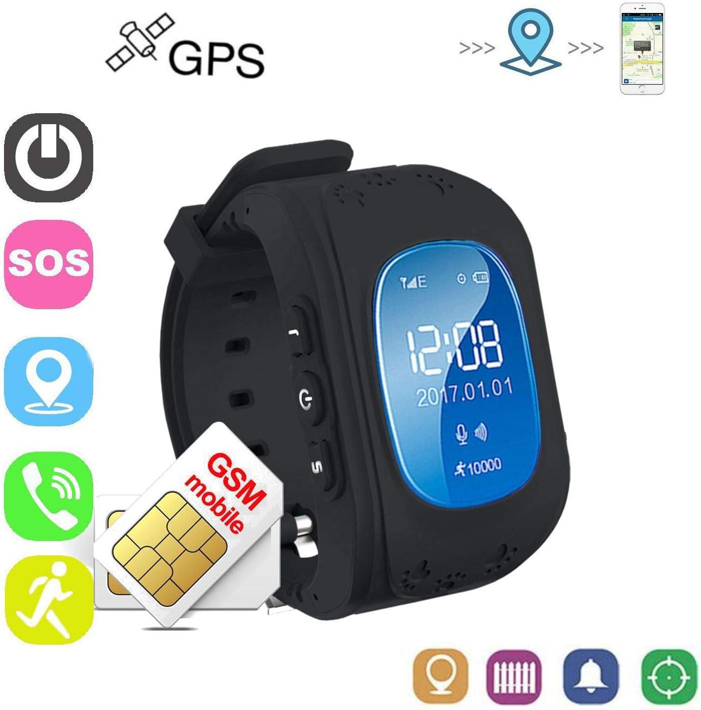 Winnes Reloj Localizador Niños GPS Localizador Niños Pulsera Pulsera Niños Seguridad GPS Reloj Niña GPS Smartwatch Niños Localizador GPS Seguimiento en Tiempo Real,Podómetro (Nergo)
