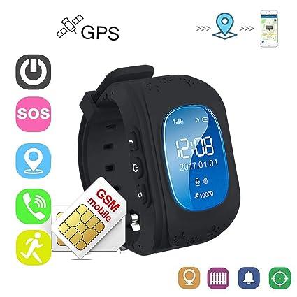 Relojes Niños Digitales Relojes Inteligentes Relojes Negros con Teléfono Smartwatch Niños Localizador GPS Apoyo a La Conversación de Dos Vías, Puede ...
