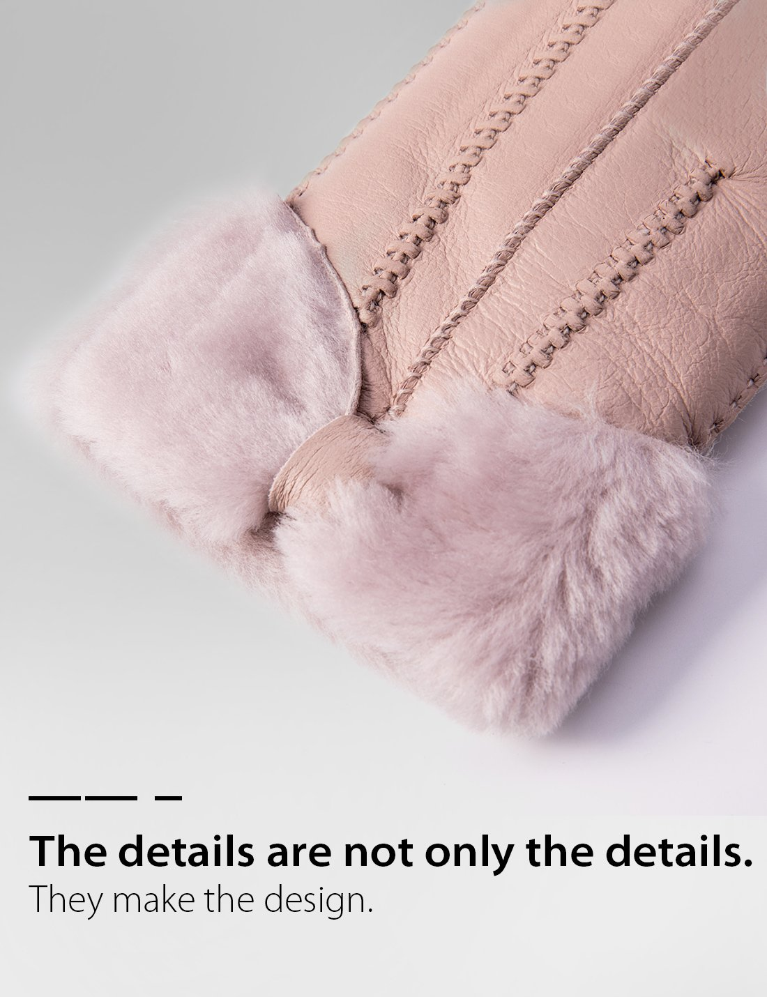 YISEVEN Women's Rugged Sheepskin Shearling Leather Gloves Three Points and Wing Cuffs Soft Thick Furry Fur Lined Warm Lining for Winter Cold Weather Heated Dress Driving Work Xmas Gifts, Pearl Pink S by YISEVEN (Image #5)