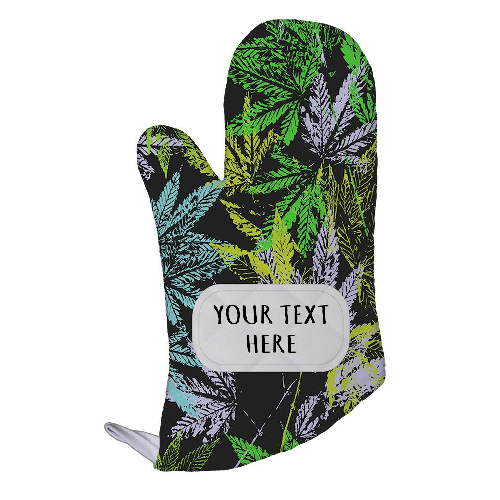 Polyester Oven Mitt Custom Cannabis Colorful Seemless Pattern Adults Kitchen Mittens