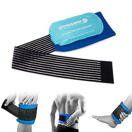 Gelpacksdirect - bolsa de gel reutilizable para aplicar frío y calor - con banda de compresión - para lesiones en espalda, rodilla, hombro y tobillo - ...