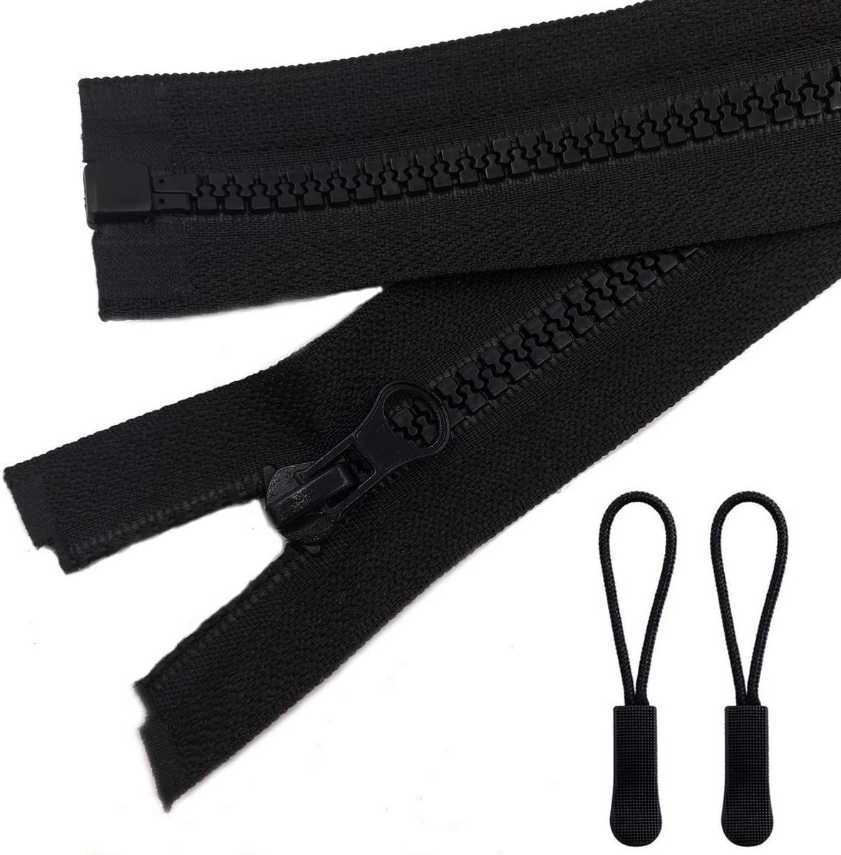 YaHoGa 2PCS #5 18 Inch Separating Jacket Zippers for Sewing Coats Jacket Zipper Black Molded Plastic Zippers Bulk 18 2pc