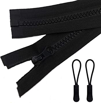 30 inch Jackets 2pcs 30inch Separating Bottom Zipper #5 Black Plastic Jacket Zippers with Zipper Pulls for Coats and Other Sewing Crafts Bags