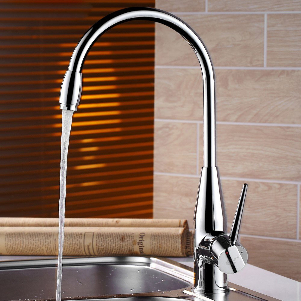 Hlluya Professional Sink Mixer Tap Kitchen Faucet The kitchen sink cold water faucet, Brass Body thick dish washing basin wash bowl pool basin taps can be redated