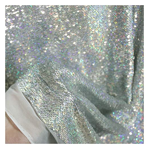 Sparkle Blue Glitter Dot Sequins Holographic Laser Mermaid Scale Fabric snake Stripe Mesh Backing