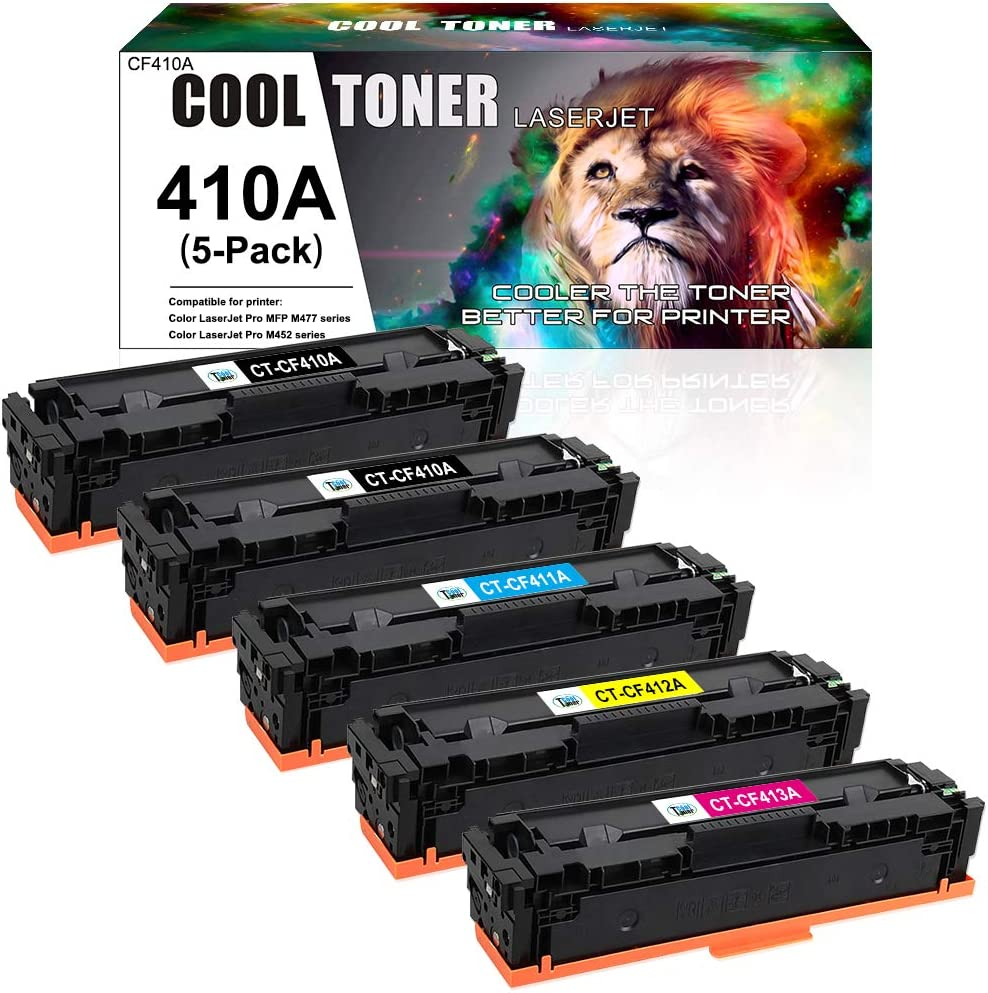 Cool Toner Compatible Toner Cartridge Replacement for HP 410A 410X Toner for HP Color Laserjet Pro MFP M477fnw M477fdw M477fdn M477 Pro M452dn M452nw M452dw M452 Printer Toner (K/K/C/M/Y, 5 Packs)